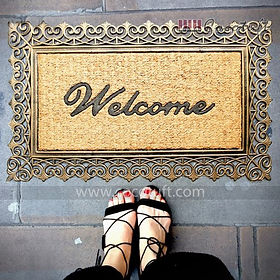 Golden Colour Moulded Princess Bordered Coir and Rubber Welcome Mat