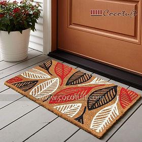 Multicolour Leaves pattern Flocked Nylon backed Coir Door Mat