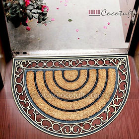 Oval Shaped Moulded Princess Bordered Coir and Rubber Mat