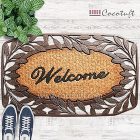 Wooden texture Moulded Princess Bordered Coir and Rubber Welcome Mat