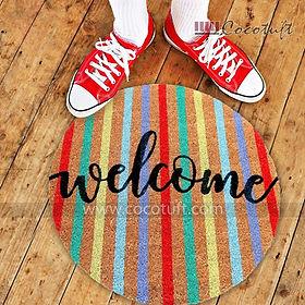 Round Shape Vinyl Backed Welcome Coir Floor Mat
