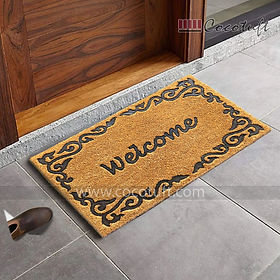 Welcome and Border Impression printed Coir Door Mat