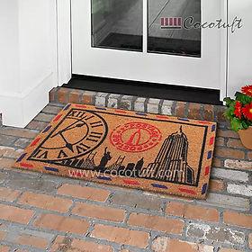 Picture Flocked Nylon backed Coir Door Mat