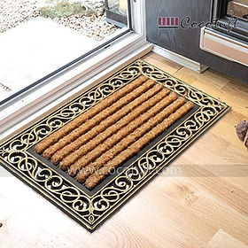Rustic Metalic Design Moulded Coir and Rubber Mat