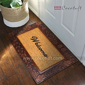 Welcome printed Moulded Princess Bordered Coir and Rubber Mat