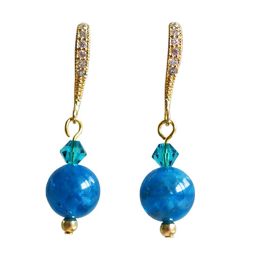 THEANNA DROP EARRINGS (GOLD, BLUE APATITE)