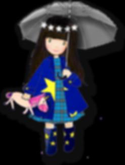 Prinzessin Eva Europa Mädchen mit Regenschirm Sternen und Gummistiefel Regenmantel Kuscheltier