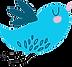 Blauer kleiner Twitter Vogel fliegt auf den Kirschbaum