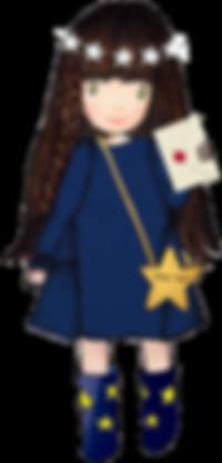 Prinzessin EvaEuropa im blauen Kleid mit Stern Umhängetasche und Brief