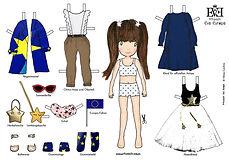 Prinzessin Eva Europa Anziehpuppe Ankleidepuppe Paper Doll Mode Fashion Papierpuppe Anziehspiele Ankleidespiele