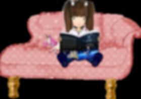 Prinzessin Eva auf Sofa Couch liest ein Buch mit Einhorn Shiny
