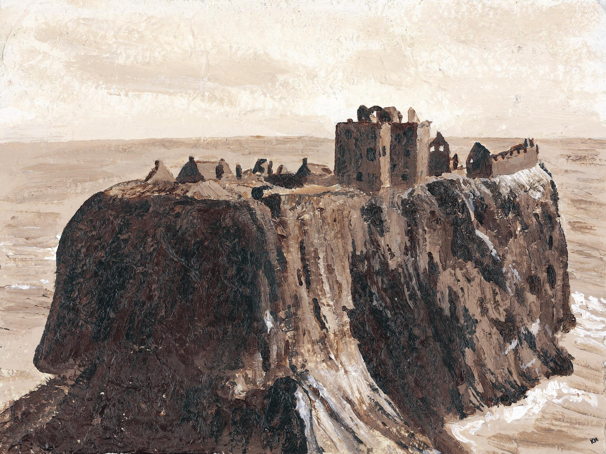 Dunnottar Castle on textured paper
