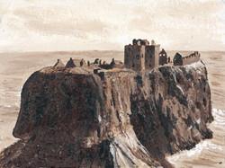 Dunnottar Castle on textured paper