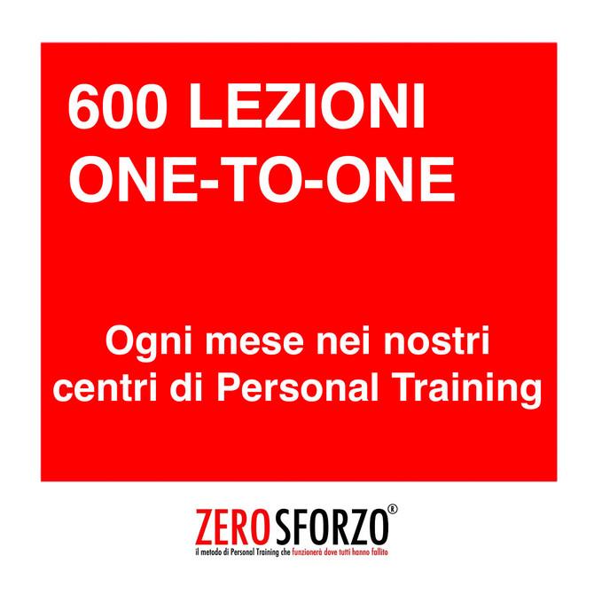 600 LEZIONI ONE-TO-ONE ogni mese nei nostri centri di Personal Training