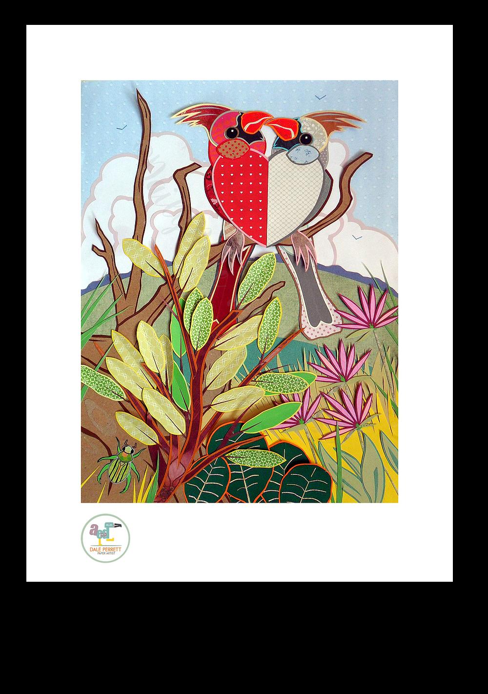 Cardinal birds in love paper A3 illustration.