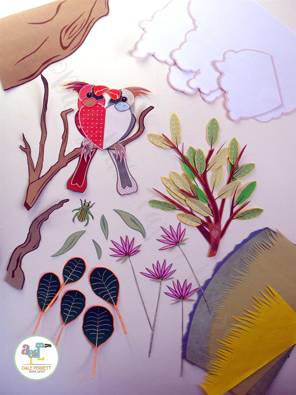 Cardinal birds paper illustration, various paper parts in construction.