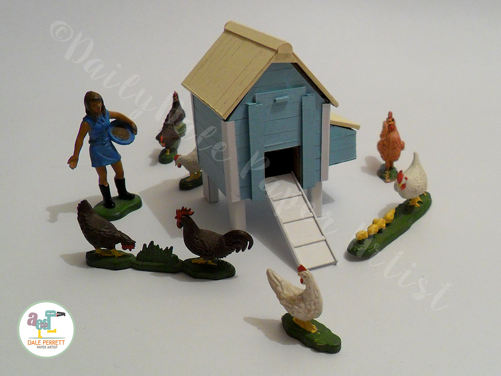 Paper and Card Hen House with Britains scale models.
