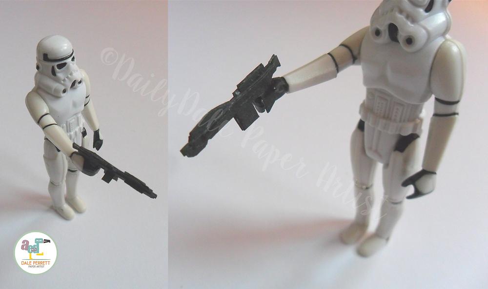 Vintage Stormtrooper & paper blaster