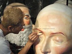 Rick Chin Applying Make-up for Santa