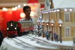 Xmas village & Antique locomotive