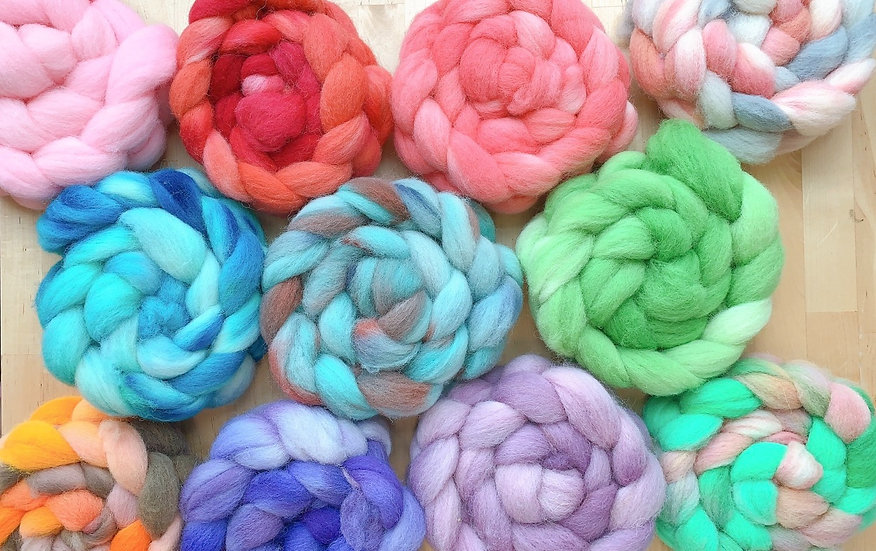 Hand dyed Southdown fiber