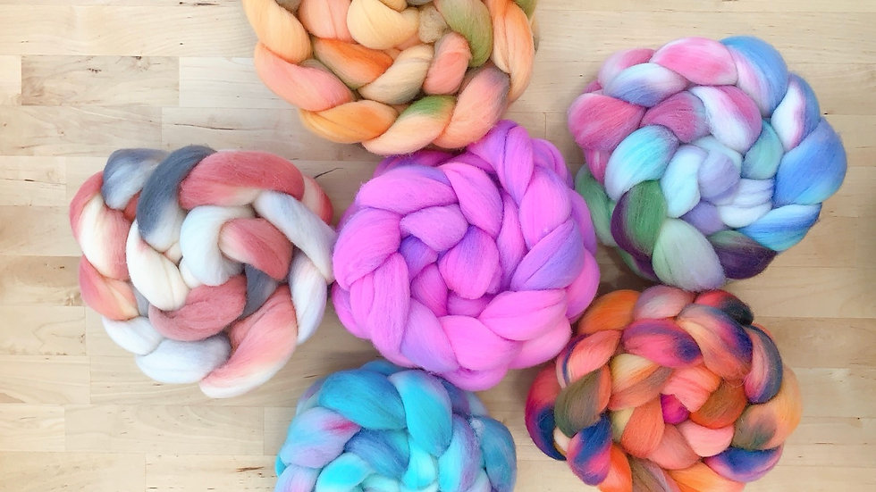 Hand dyed Rambouillet Fiber