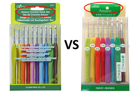 Japan crochet hooks comparison: Clover Amour/Amure vs Clover soft touch vs Tulip Pink Etimo vs Daiso