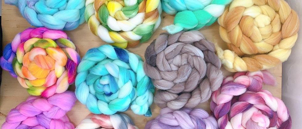 Hand dyed Targhee/Bamboo/Silk fiber