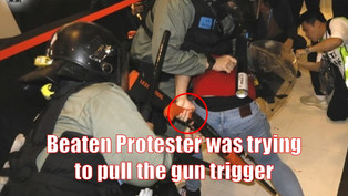 Beaten Protester was trying to pull the police gun trigger