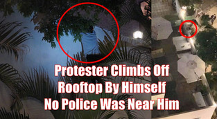 Protester climbs off rooftop by himself, photo shows no Police was near him.
