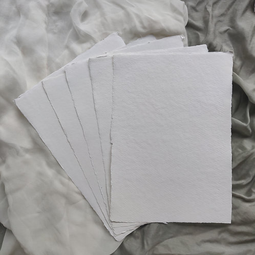 Ivory Handmade Deckle Edged A4 Paper - Pack of 5