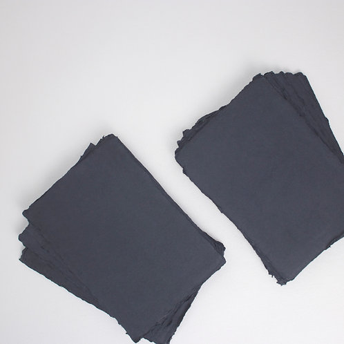 Black Handmade Deckle Edged A5 Paper - Pack of 5
