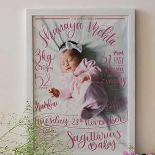 Baby Birth details - The Bombay Lettering Company
