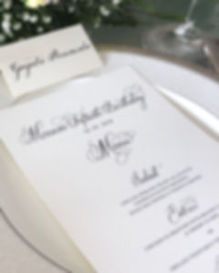 Menu + Placecard for sit down dinner - Calligraphy Services