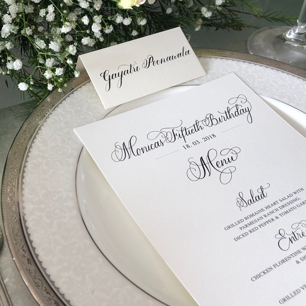 Menu + Placecard for sit down dinner - The Bombay Lettering Company