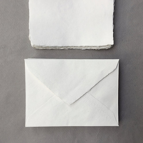 Ivory Handmade Deckle Edged A6 Envelopes - Pack of 5