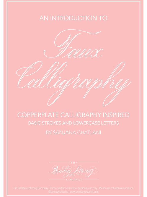 Faux Calligraphy Workbook - Lowercase and Basic Strokes