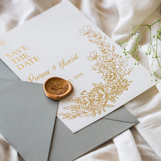 Save the date with wax seal stamp - The Bombay Lettering Company