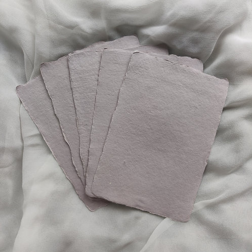 Light Grey Handmade Deckle Edged A6 Paper - Pack of 5