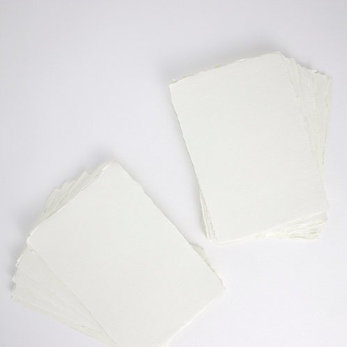 Ivory Handmade Deckle Edged A5 Paper - Pack of 5