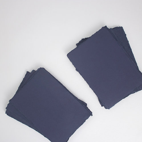Navy Handmade Deckle Edged A5 Paper - Pack of 5