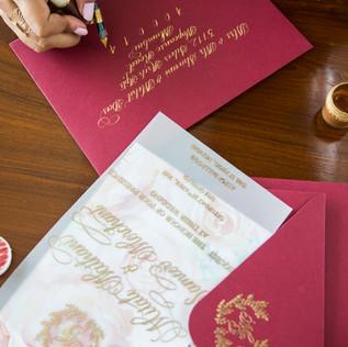 Working shot - envelope addressing - The Bombay Lettering Company