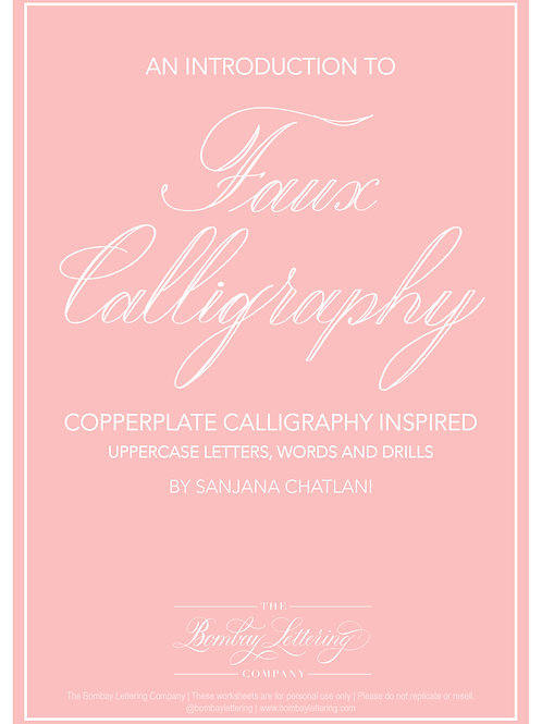 Faux Calligraphy Workbook - Uppercase, Words and Drills