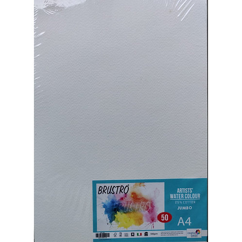 Watercolour Paper 300 GSM A4 Jumbo (Pack of 50 Sheets) - 25% cotton