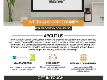 Looking for an internship opportunity this fall and pursuing a masters in counseling? Contact us!