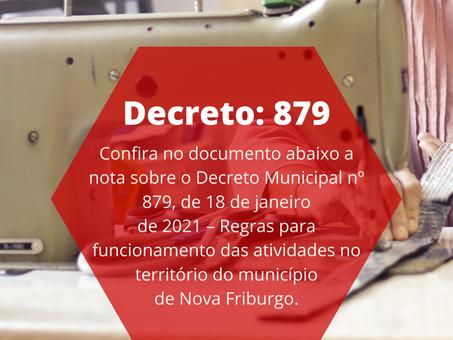 Decreto Municipal nº 879, de 18 de janeiro de 2021 – Regras para funcionamento das atividades no ter