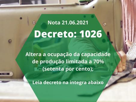 DECRETO N° 1026 autoriza funcionamento da indústria com cupação da capacidada de 70%