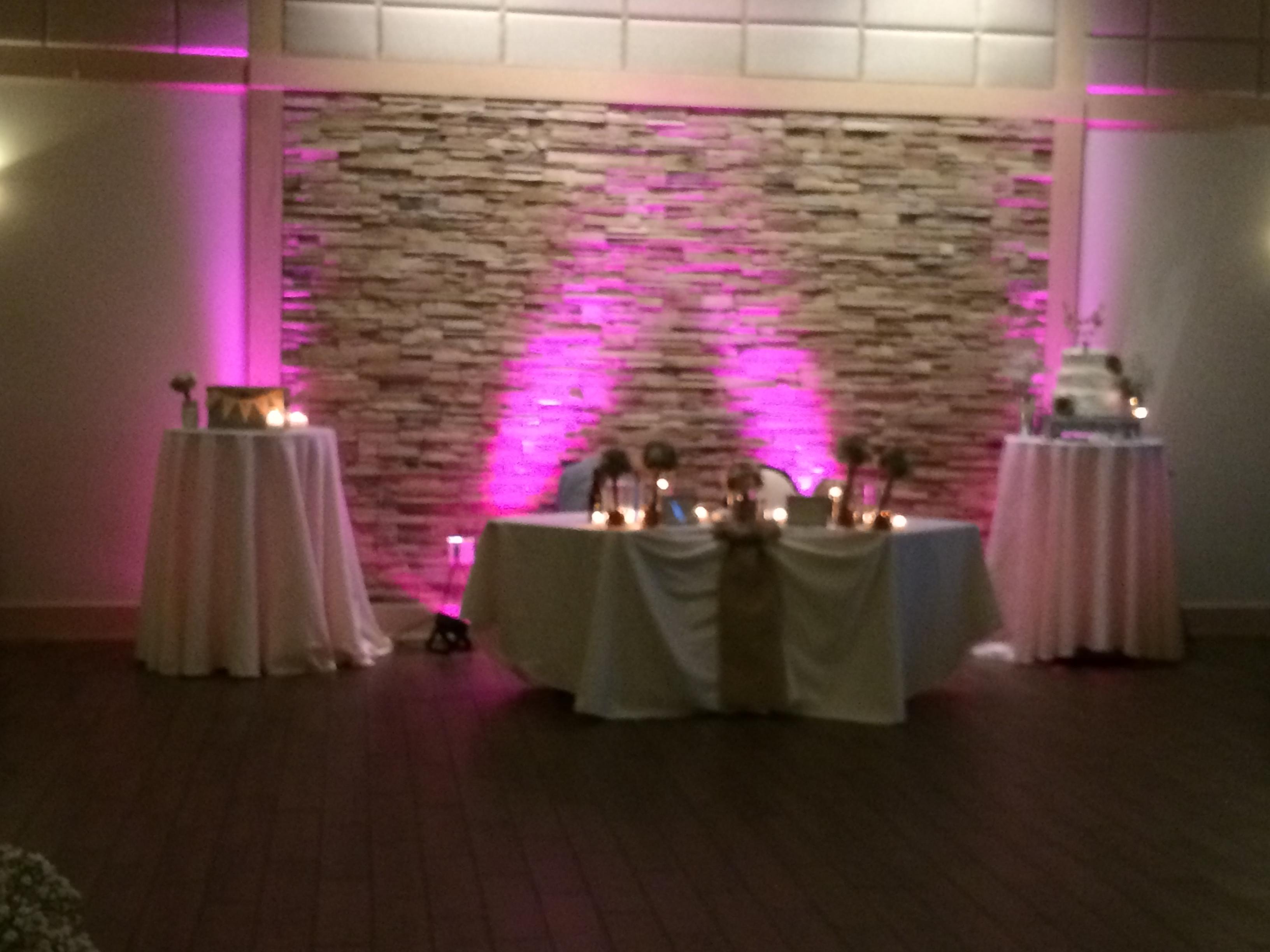 Pink uplighting behind bride/groom