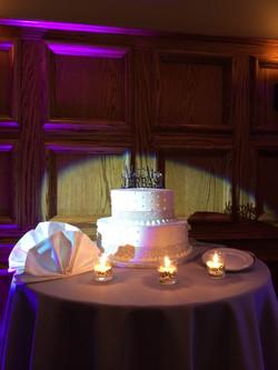 Cake spot light with purple uplight
