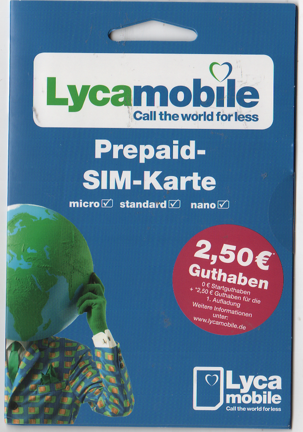 Details about Lycamobile GERMAN, SIM  MICRO/STD or NANO size  GERMANY  +  extra credit**
